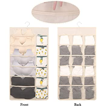 30 Pockets Mesh Hanging Storage Bag Underwear Organizer Bra Sock Wardrobe Hanger