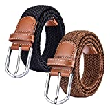 2 Pack Braided Elastic Stretch Belts Woven Fabric Canvas...