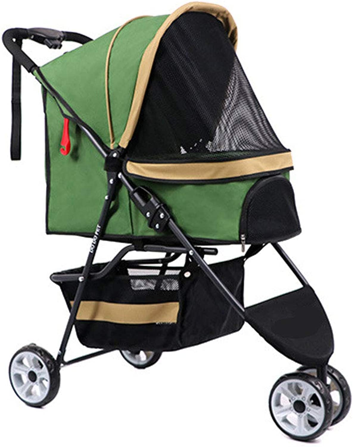 GWM Backpacks Pet Stroller, Oxford Cloth Matte Steel Tube 3 Seconds Folding Easy to Clean Can Carry 20KG (color   Green)