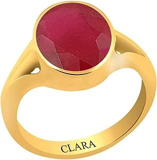 Clara Certified Ruby Manik 4.8 Carat or 5.25ratti Panchdhatu Gold Plating Astrological Ring for Men & Women
