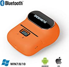 BESHENG Portable Smartphone Bluetooth Lable Printer, Direct Thermal Label Printer, Lable Maker Machine for Barcode,Text, Excel, Picture etc, Compatible iOS & Android System (Orange)