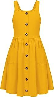 فستان شمس صيفي للفتيات من Arshiner بأشرطة سباغيتي بزر سفلي متوسط الطول مع جيوب