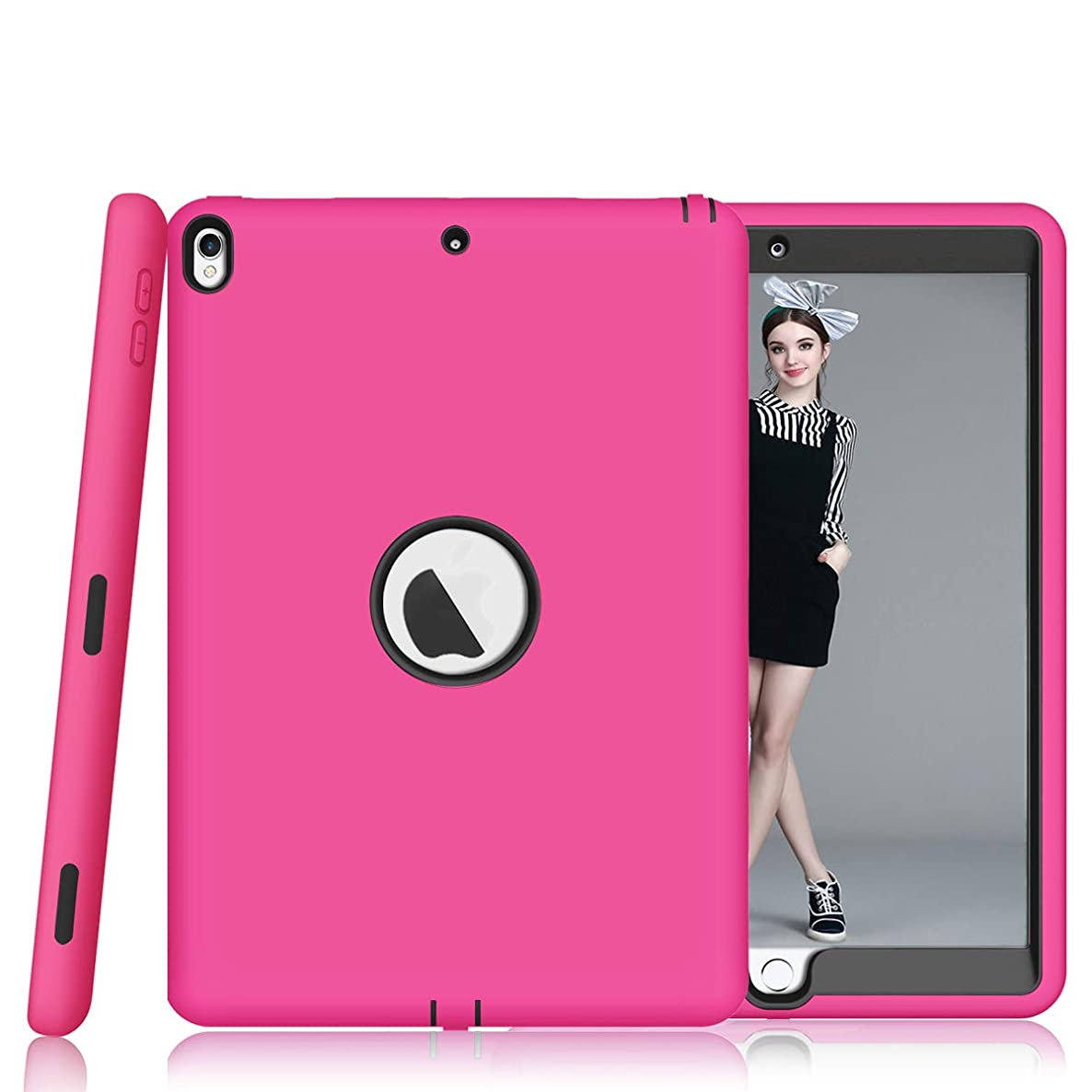 Sevrok iPad Air 3 Case - Heavy Duty Shockproof Defender Hard PC+Silicone Hybrid Protective Armor Cover for Apple iPad 3rd Generation 10.5 inch, Rose Red