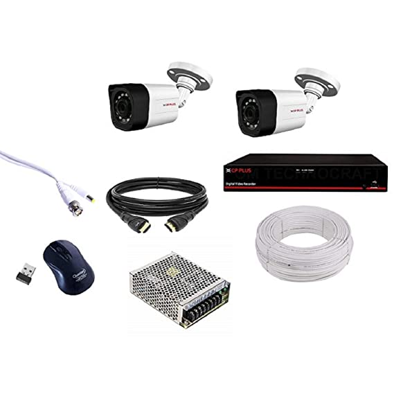 CP PLUS 2 Bullet (2.4MP), 4 Channel DVR,4 Channel Power Supply,Without Hard Disk,90M Wire Bundle Full KIT