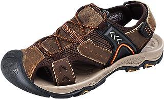 صندل رجالي من CREPUSCOLO من الجلد لصياد السمك من الأمام صنادل الصيف للشاطئ والتنزه في الهواء الطلق أحذية رياضية