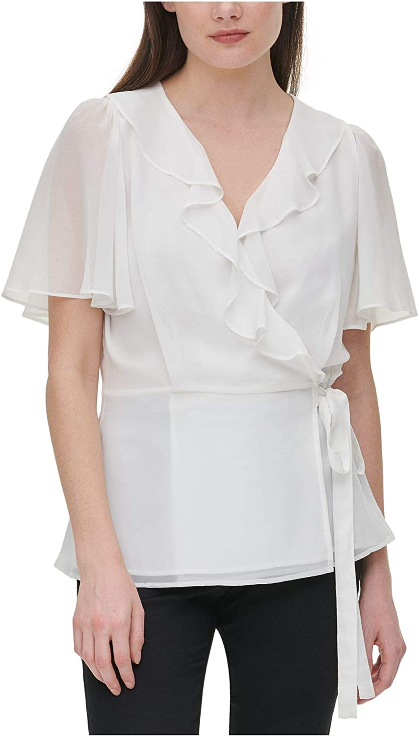 1930s Style Blouses, Shirts, Tops   Vintage Blouses Calvin Klein Womens Wrap Top with Ruffle Sleeve  AT vintagedancer.com