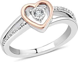Diamond Heart Ring in Sterling Silver with 10k Rose Gold Heart 1/10 cttw