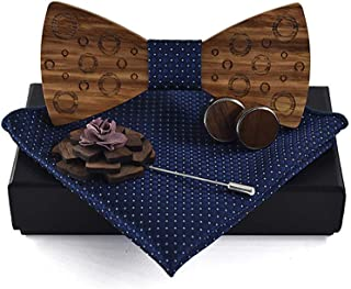 Jelinda Handmade Walnut Wood Bow Tie Brooch Pocket Square and Cufflinks Set 4pcs