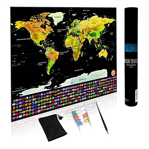 Birdo Travel - Scratch Off Map of The World - Deluxe Edition - Includes US States and World Flag - Heavy Premium Paper - XL Size 32 x 23 - Includes Flag Push Pins (Count of 6)