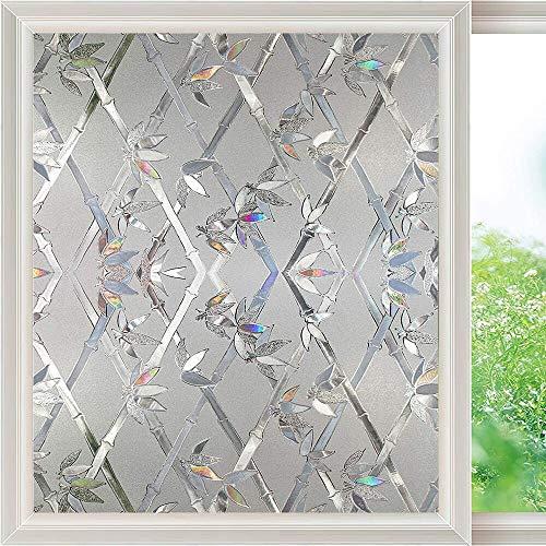 LMKJ Película de Ventana de Arco Iris 3D película de Vidrio no pegada, película Adhesiva electrostática Opaca Pegatina de Vidrio Decorativa A66 40x200cm