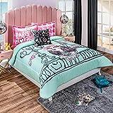 Turquoise Paris Cavalier King Reversible Comforter Set Twin Size 3PCS Soft and Warm