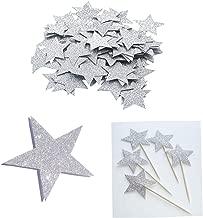 2 Packs Glitter Silver Five Stars Paper for Wedding party, Table Confetti, Festival Items & Party Props, Gold Glitter Paper Confetti (200pcs of 1