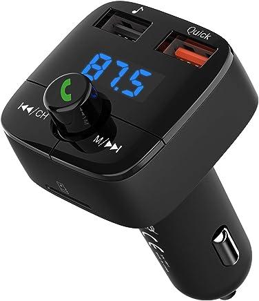 Trasmettitore FM Bluetooth 4.2 VicTsing, Trasmettitore Bluetooth per Auto, Fm Bluetooth Auto Ricarica QC 3.0, Doppia Uscita USB, Radio Adattatori Car Kit Vivavoce Supporta TF/ USB Flash Drive 32GB