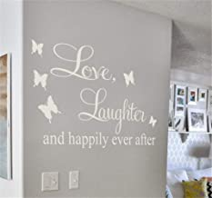 Vinyl Wall Decal Quote Stickers Home Decoration Wall Art Mural Love Laughter and Happily Ever After for Living Room Bedroom