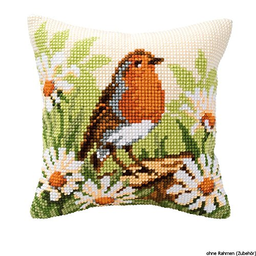 Vervaco Robin Cross Stitch Cushion, Multi-Colour