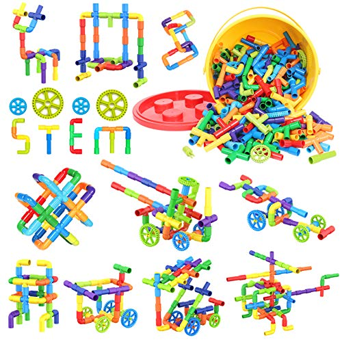 Building Blocks Kids Educational Toys Creative STEM Tube Locks Construction Kit Pipe Tube Building Sets Preschool Learning Toys, Present Gift for Kids Boys and Girls 3+, 250 Pieces with Storage Box