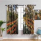 Azbza Cortinas Opacas Salón - Paisaje puente árboles bosque de montaña - 90% Opacas Proteccion Intimidad - W140 x H160 cm - Salón Dormitorio Cortina Gruesa y Suave para Oficina Moderna Decorativa Cort
