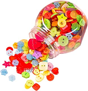 400 Pcs Mixed Sizes Resin Buttons Candy Color Square Love Flower Shape Sewing Buttons DIY Craft Supplies with Plastic Jar Container for Children's Manual Button Painting and DIY Craft Decoration