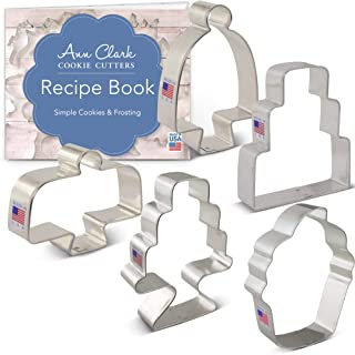 Ann Clark Cookie Cutters 5-Piece Bake Me a Cake Cookie Cutter Set with Recipe Booklet, Cakes, Cake Stands and Cupcake Shapes