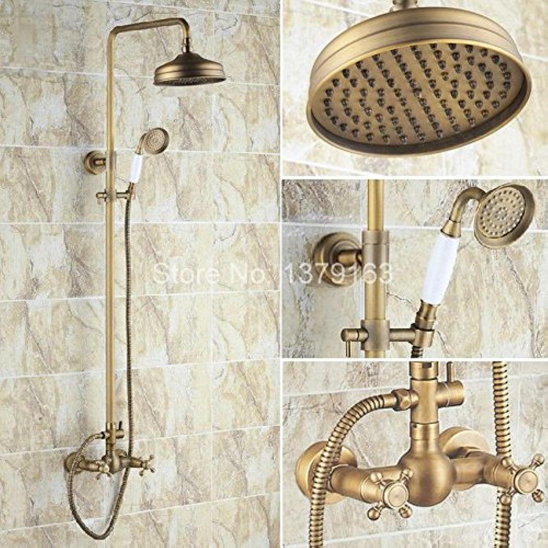 Luxurious shower Messing antik Dual Kreuzgriffe Badezimmer mit Regendusche Hahn + Handbrause ars 107, Gelb