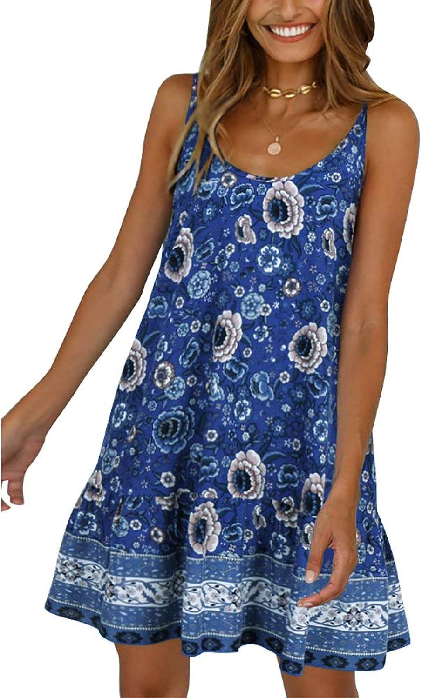 Chuanqi Womens Bohemian V Neck Spaghetti Strap Backless Summer Beach Short Mini Dress