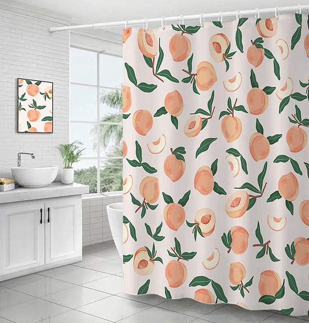 Decorative Peach Cheetah Shower Curtain 72 x 72 Inch, Bathroom Decor Peach Colored Hanging Bath Curtain with Hooks, Waterproof Fabric, Machine Washable