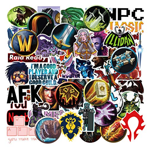 World of Warcraft Game Stickers Decals for Laptop Water Bottles Bomb Cool Computer Skateboard Luggage Motorcycle Car 50pcs