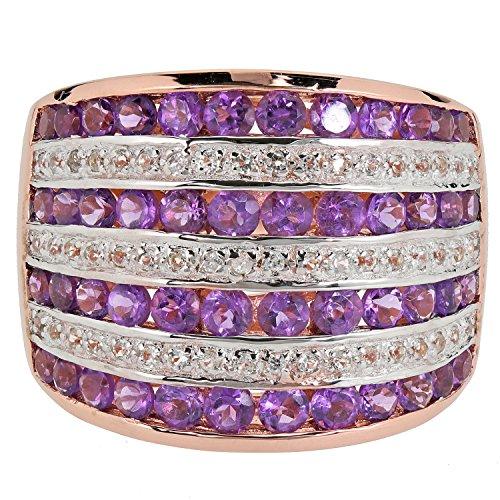 Harry Ivens Damen Ring aus echt Silber 925 rosé vergoldet Amethyst Weißtopas RW18