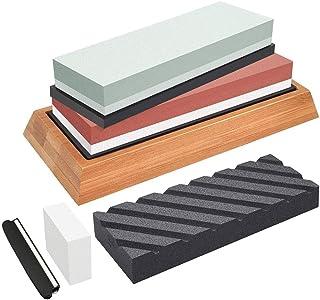 Sharp Pebble Afilador de cuchillos 3000/8000 400/1000 Grit antideslizante, kit de piedra de afilar base de piedra afiladora para el hogar y la cocina