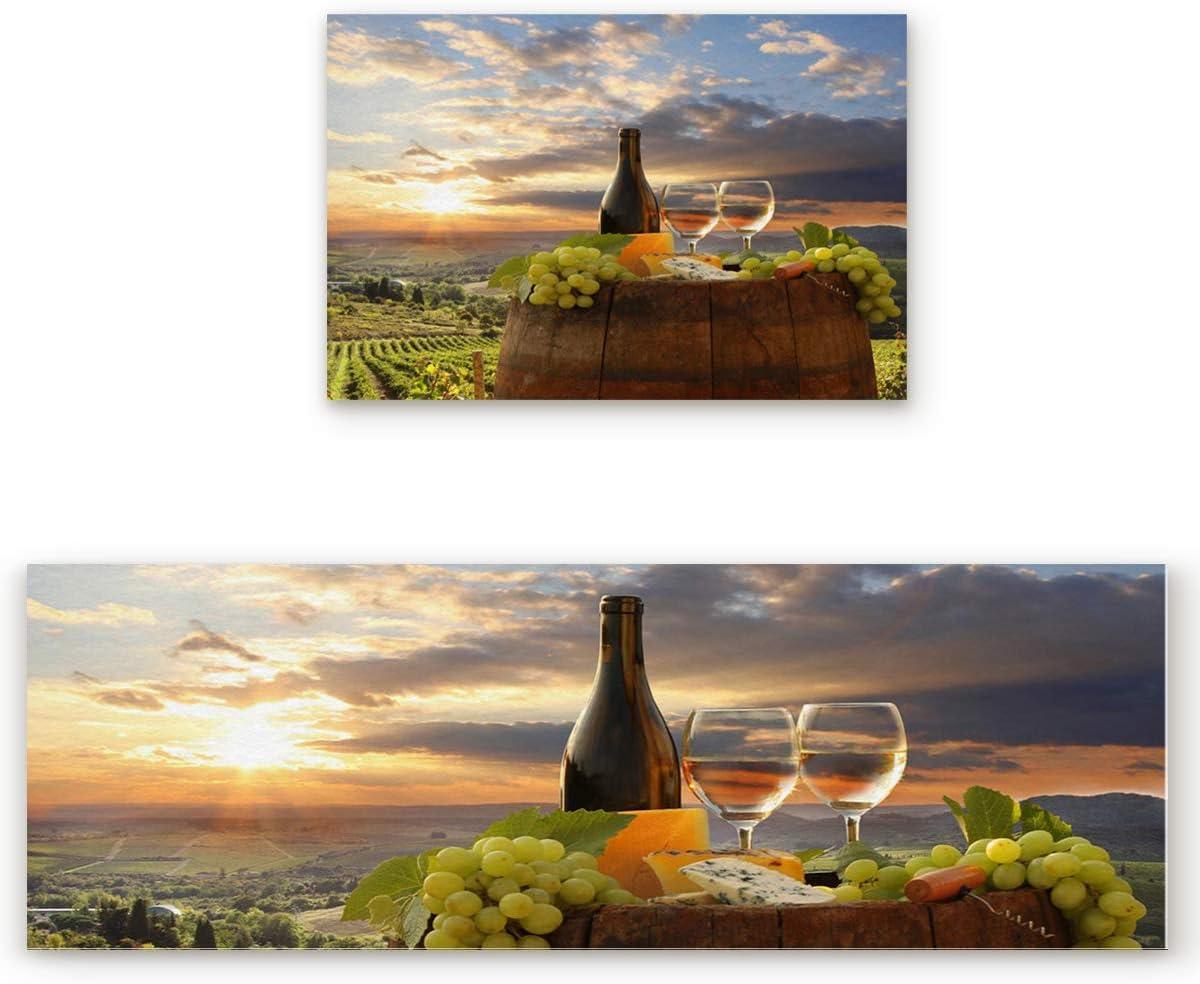 Greday Anti Fatigue Set of 2 Kitchen Wine Rug Fresno Mall Theme Farm Sets B New arrival