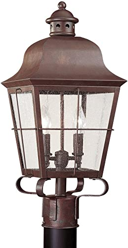 2021 Sea Gull Lighting 8262-44 Chatham Two-Light Outdoor Post Lantern with Clear wholesale Seeded Glass Panels, Weathered 2021 Copper Finish sale