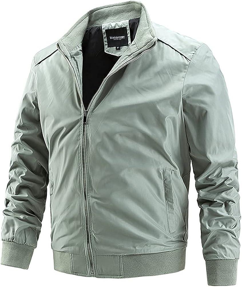 chouyatou Men's Lightweight Full Zip Up Softshell Casual Work Wear Bomber Jacket