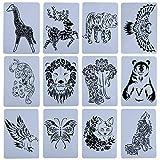Babioms Plantillas Pintura, Animal Painting Stencil DIY, Hueca Plantillas Animal para Niños Scrapbooking Pintura Artística, Utilizado para Decoración del Hogar y Herramientas de Dibujo (12 Piezas)