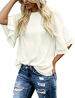Women's Casual 3/4 Tiered Bell Sleeve Crewneck Loose Tops...