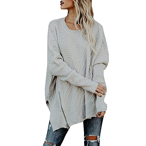370b2ea85a605d Ofenbuy Womens Oversized Sweaters Batwing Sleeve Round Neck Patchwork Cable  Knit Pullover