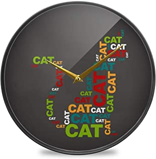 Chovy 掛け時計 サイレント 連続秒針 壁掛け時計 インテリア 置き時計 北欧 おしゃれ かわいい ネコ 猫 猫柄 抽象 おもしろ 部屋装飾 子供部屋 プレゼント