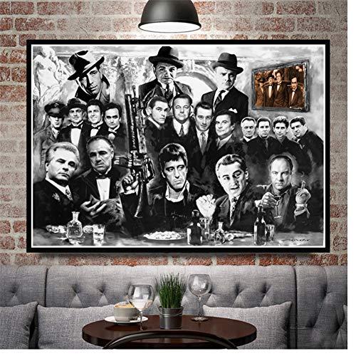 A&D Pate GangsterRetro Poster Drucke GeschenkFilm Schauspieler Wandkunst Leinwand Malerei Bild Living Home Room Decor-60x90 cm Kein Rahmen