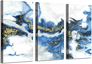 Ocean Abstract Art Picture Print: Crashing Waves Gold Foil Artwork on Canvas Decor Set