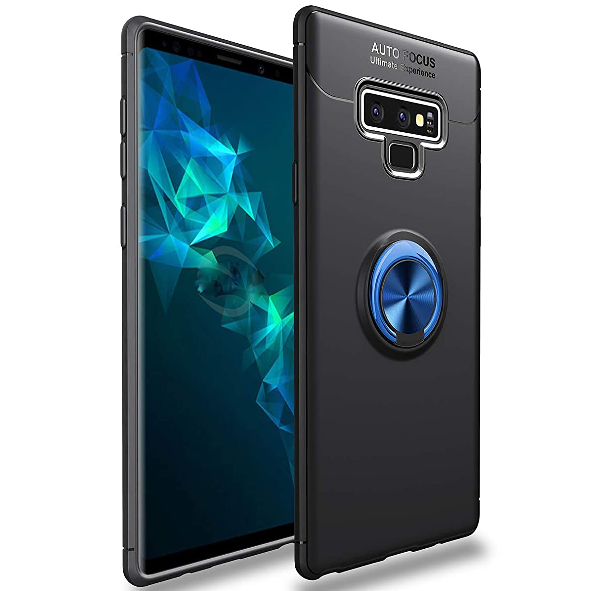 Galaxy Note 9 Case,WATACHE Slim Fit Heavy Duty Soft TPU Case with Metal Finger Ring Grip Holder Kickstand [Support Magnetic Car Mount] for Galaxy Note 9 (Black+Blue Ring)