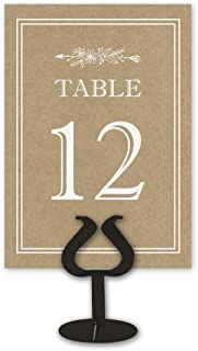 Double Sided Table Card Numbers, 1-25, Kraft Table Numbers for Wedding Receptions, Events, and Parties
