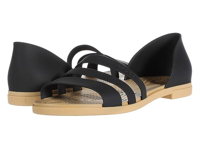 Crocs  Tulum Open Flat (Black/Tan) Womens Flat Shoes