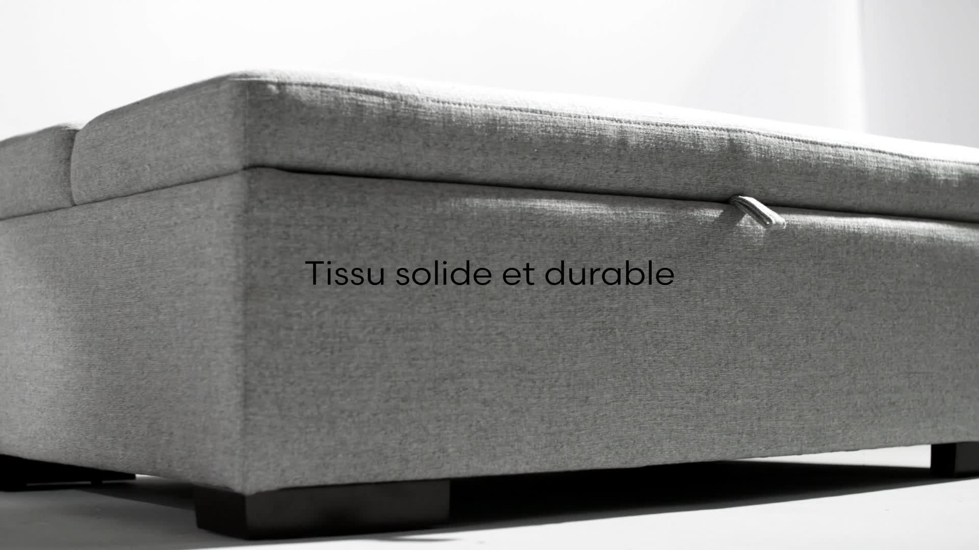122/cm Canap/é-lit ottomane convertible moderne Rivet Gris clair