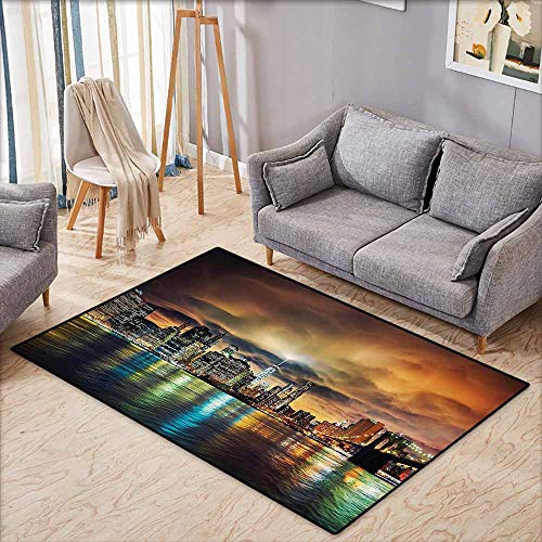 Large Door mat,NYC Decor Collection,View of Manhattan at Sunset Dramatic Sky Clouds Dark Evening Architecture Picture,Anti-Static, Water-Repellent Rugs,3'11'x5'10',Brown Yellow Green Navy