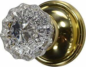 Regency Fluted Real Glass Door Knob Set with Victorian Plate Rosette in Polished Brass (Passage Hall/Closet)