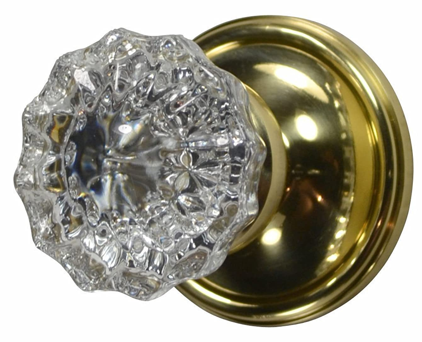 Regency Fluted Real Glass Door Knob Set with Victorian Plate Rosette in Polished Brass (Double Sided Dummy)