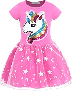 AmzBarley Girls Unicorn Outfit Flip Sequin Rainbow Star Theme Party Dress 2-8 Years
