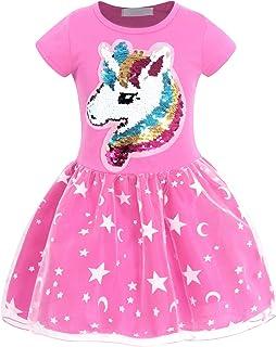 AmzBarley Unicorno Vestito da Festa Ragazza Bambina Fiore Ragazze Partito Abito con Abiti da Principessa Abito Tutu Festa ...