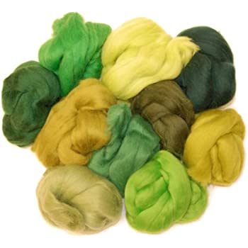 Woodland green hues Merino wool roving/tops . A mix of 10 colours ...