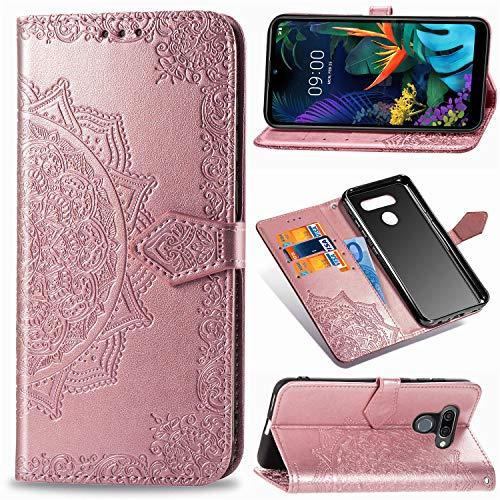 Abuenora Funda para LG K50, LG Q60 Carcasa Libro con Tapa Flip Case Antigolpes Golpes Cartera PU Cuero Suave Soporte con Correa Cordel - Mandala Oro Rosa