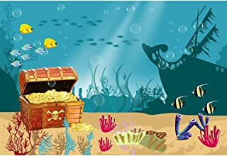 CSFOTO 10x7ft Underwater World Backdrop for Photography Sea World Background for Child Birthday Shipwreck Precious Deposits Money Aarine Benthos Kids Newborn Portrait Photo Studio Props